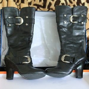 Black Leather Boots with Silver Buckles
